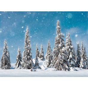 My Village Hintergrund - schneebedeckte Tannen 78X58CM